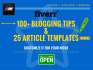 provide 100 Blogging tips and 25 article templates
