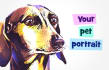 paint a digital portrait of your pet in watercolor style