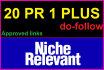 do 20,PR1 Plus High PR niche relevant dofollow manually blog comments