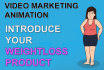 make video marketing for weight loss product with female cartoon character