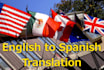 translate 500 words between English and Spanish