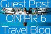 publish Your Guest Post On PR6 DA 36 Travel Blog