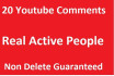 20 YOUTUBE comments by Genuine active Real users