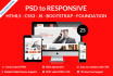 convert psd to html5, bootstrap, foundation