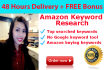 make keyword research search terms and ppc for Amazon products