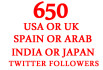 country Targeted Retention 650 REAL Twitter Followers