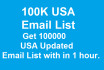 give you 100K USA updated email list for email marketing