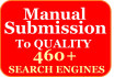 manually submit your site to 460 Search Engines