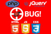 fix html css jquery wordpress php bugs errors and issues