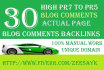 create 30 Dofollow Blog Comment Backlinks High Pr7 to Pr5 on Actual Page