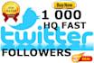 1000 HQ Permanent Fast Twitter Followers