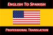 provide Professional Translation English and Spanish