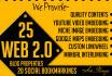 build 25 Web2 Blog and 20 Social Bookmarking Manual SEO Link