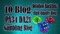 seo backlinks DA21Gambling blog different IP