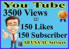 150 Youtube,like, video boosting