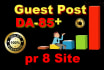 do Guest Post on pr8 site DA80 plus