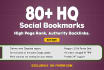add your site 80 SEO social bookmarks high quality backlinks, rss, ping