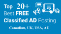promote your website in top ca, uk, usa, au classified ads