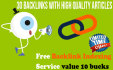 create 30 Backlinks With High Quality Articles Free Indexing Service