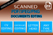 do editable PDF, Jpeg, Png Scanned Documents in Photoshop