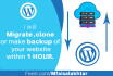 do Wordpress Migration, Clone or make BackUp within 1 hour