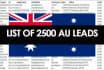 send you a list of 2500 Australian leads