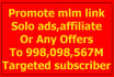 promote your mlm link,solo ads,website to 999,098,567million targeted subscriber