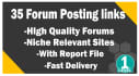 create 35 high quality forum links with report file