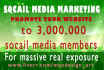 do website social campaigns to 3mil social media members for visitors traffic