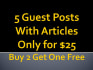 give five guest posts with articles
