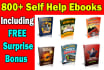 over 800 Self Help and Personal Improvement Ebooks plr mrr