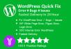 fix your wordpress error, wordpress bugs, wordpress issues
