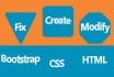 fix any HTML,css, javascript and bootstrap issue