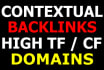create 50 Permanent contextual backlinks on High TF domains