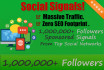 50 SEO Social Signals to 1,000,000 Followers and Sponsored