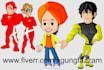 make the image cartoon mascot design, character, superhero