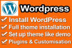 setup WordPress,themes and plugins in your hosting