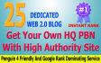 dedicated 25 High Pr Web 2 PBN To Boost Google Rank
