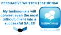 provide 4 written testimonials with a photo