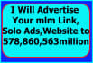 send Your Links,Solo Ads,Website to 5 Million Targeted Visitors