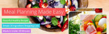 provide a 30 day healthy meal plan that includes menu, shopping list and recipes