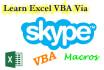 teach you Excel VBA on Skype