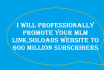 professionally promote your mlm link,solo ads,website to 600 million buyers