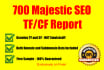 create a Majestic seo tf and cf report of up to 700 domains