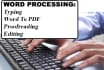 do all proofreading and Word Processing Works