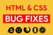 fix any kind of html, css, jQuery errors, bug and issue