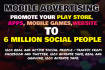 promote your play store, mobile apps, games, website to 6million social members