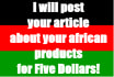 post an article about your African Products