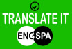 do translations from eng to spa and versa