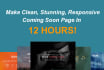 make clean stunning coming soon page in 12 hours